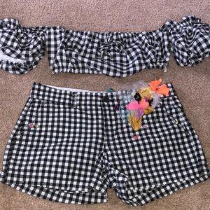 Pants - Black and white checkered short set